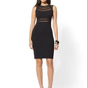 Black Mesh-Inset Sheath Dress